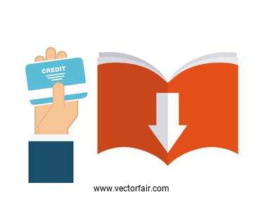 Book and credit card icon. Audiobooks design. Vector graphic