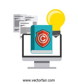 Book, computer and c icon. Copyright design. Vector graphic