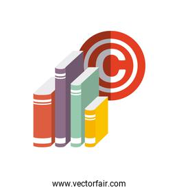 Book and c icon. Copyright design. Vector graphic