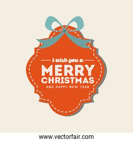 label with bowtie icon. Merry Christmas design. Vector graphic