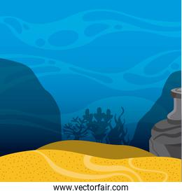 Under sea landscape icon. Sea life design. Vector graphic