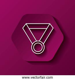 Medal icon. Winner design over hexagon. Vector graphic