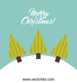 Pine tree and snow icon. Merry Christmas design. Vector graphic