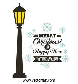 Lamp and snowflake icon. Merry Christmas design. Vector graphic