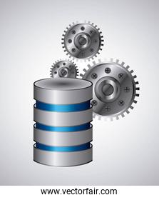Web hosting and gears icon. Data center design. Vector graphic