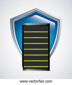 Web hosting and shield icon. Data center design. Vector graphic