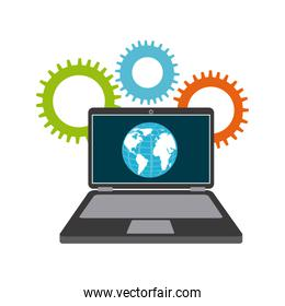 Planet and laptop icon. Social media design. Vector graphic