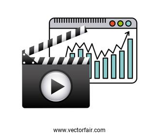 Clapboard and play icon. Movie design. Vector graphic