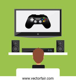tv speaker boy and control icon. Vector graphic