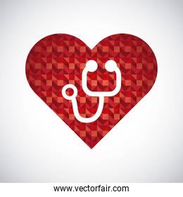 Heart and stethoscope icon. Medical and health care design. Vector