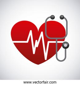 Heart and stethoscope icon. Medical and health care design.