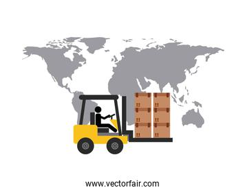 Map and forklift icon. Delivery and Shipping design. Vector grap