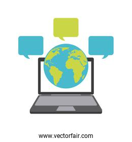 Planet laptop and bubble icon. Delivery and Shipping design. Vec