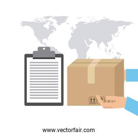 Map package and check list icon. Delivery design. Vector graphic