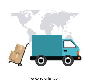 map truck and package icon. Delivery and Shipping design. Vector