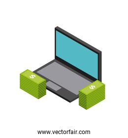 laptop and bills icon. Isometric design. Vector graphic