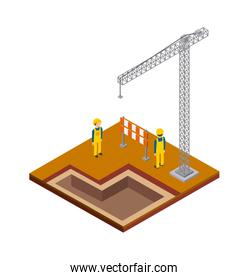 crane constructer barrier icon. Isometric design. Vector graphic