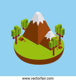 tree and mountain icon. Isometric design. Vector graphic