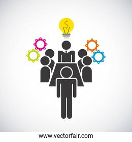 Pictogram bulb gears  icon. Businesspeople design. Vector graphi