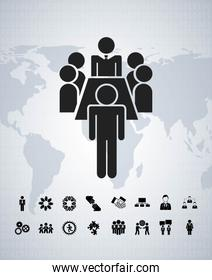Pictogram and map icon. Businesspeople design. Vector graphic