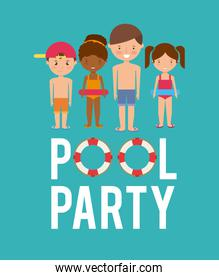kids cartoon and float icon. Swimming and pool party design. Ve