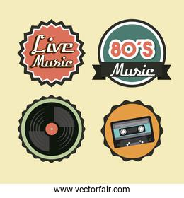 Cassette vinyl and seal stamp icon. Retro and Music design. Vect