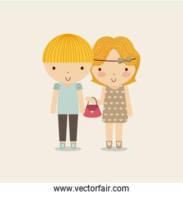 Couple of girl and boy icon. Kid and cute people design. Vector
