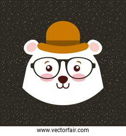 cute animal with hat and glasses hipster style