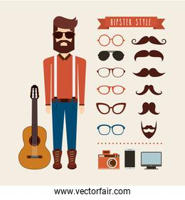 avatar man hipster style isolated icon