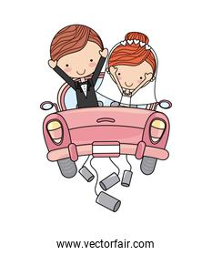 just married couple car isolated