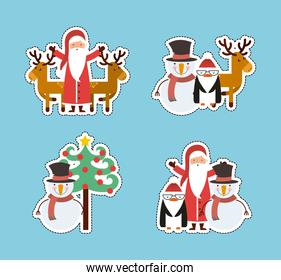 set figures happy merry christmas card