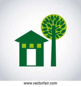 house green and tree icon