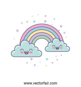 cute clouds and rainbow drawing