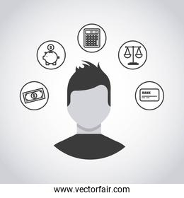 business person with economy icon