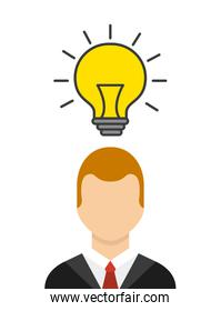 businessman with bulb light isolated icon
