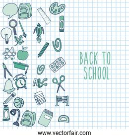 back to school set supplies icon
