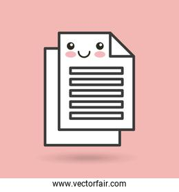paper documents character kawaii style