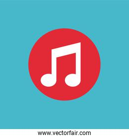 music note flat isolated icon