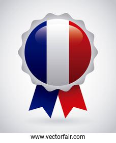 france emblem with french flag colors