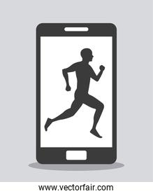 smartphone device and person running