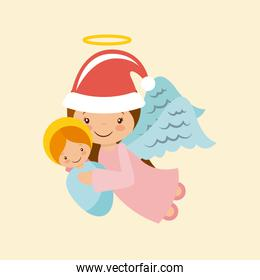 angel holding a baby jesus