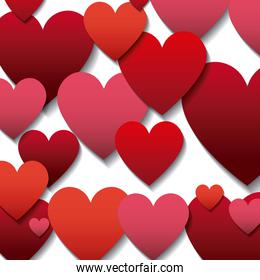 red and pinks hearts background