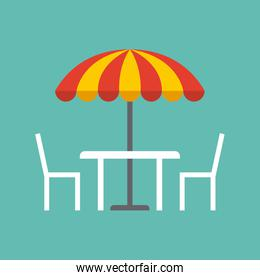 table, chairs and parasol