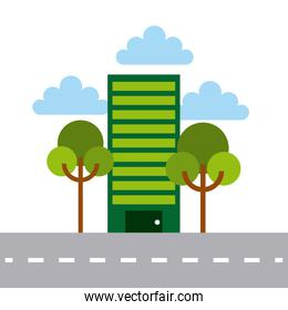 green building and trees