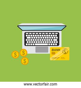 laptop computer and credit card icon