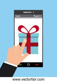 smartphone and gift box icon