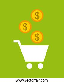 shopping cart and gold coin