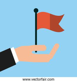 hand with red flag icon