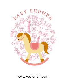 baby shower cardb with horse toy