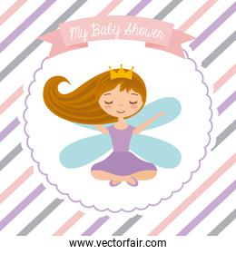 baby shower card with little fairy